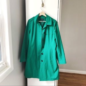 Lands' End kelly green long trench coat 578A